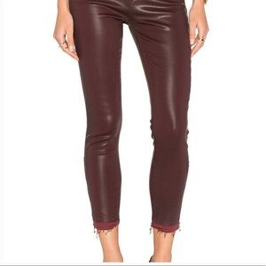J Brand Alana Coated Claret Stretch Jeans 25